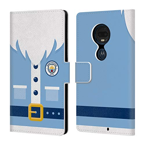Official Manchester City Man City FC Santa Christmas Leather Book Wallet Case Cover Compatible for Motorola Moto G7 Plus ()