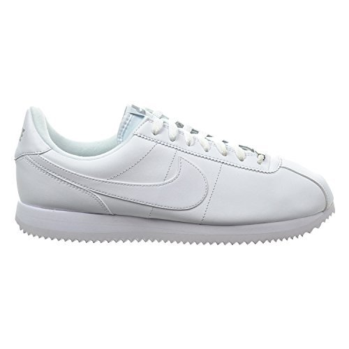 Nike Cortez Basic Leather Men's Shoes White/Wolf Grey/Metallic Silver 819719-110 (10 D(M) US) (White Cortez Mens Nike)