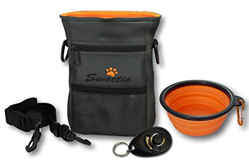 Dog Treat Pouch Bag with Poop Bag Holder & Collapsible Travel Food Storage Water Pet Bowl - FREE Doggie Clicker - Puppy Training Walking Bag with Built-In Poo Waste Bags Dispenser - Adjustable Belt 7