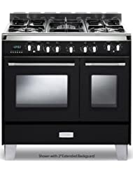 Verona VCLFSGE365DE 36 Classic Dual Fuel Range with 2.4 cu. ft. & 1.5 cu. ft. Ovens European Convection 5 Sealed Gas Burners Cast-Iron Grates EZ Clean Oven Surface and Storage Compartment in Matte