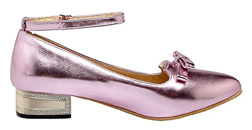 AllhqFashion Pumps Closed Heels Low Pink PU Solid Shoes Women's Buckle Pointed Toe trpqrfzw