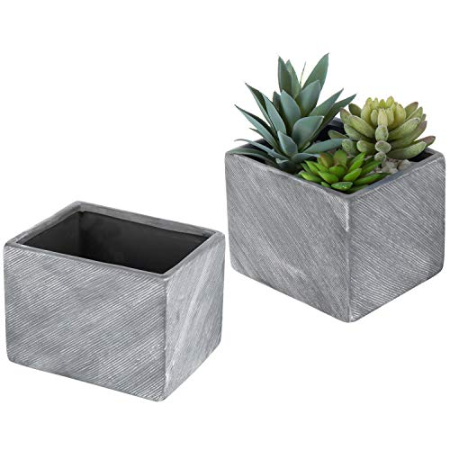 MyGift 6 Inch Terracotta Ceramic Herb Pots, Rectangular Succulent Planter Containers, Set of 2, Gray