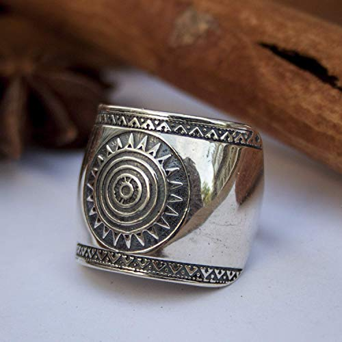 925 Sterling Silver Mayan Sun Cigar Band Rings Inca Aztec Calendar Ring Stylish Boho Hippie Jewelry Mexican Native American Tribal Style Gift for Women Handmade Unique Design ()