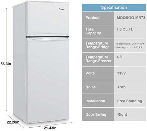 MOOSOO 7.3 Cubic Feet Refrigerator, Dual Door Mini Fridge with Top Freezer, 7 Adjustable Temperature, Removable Shelves, Ultra-Quiet, CSA Certificated, Ideal for Food and Drink Storage, White