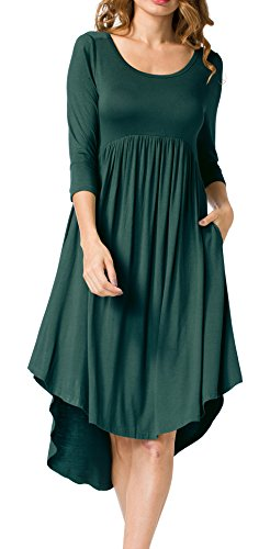 LILBETTER Women's 3/4 Sleeve Pleated Loose Swing Casual Midi Dress With Pockets(Dark Green (Can Can Dress)