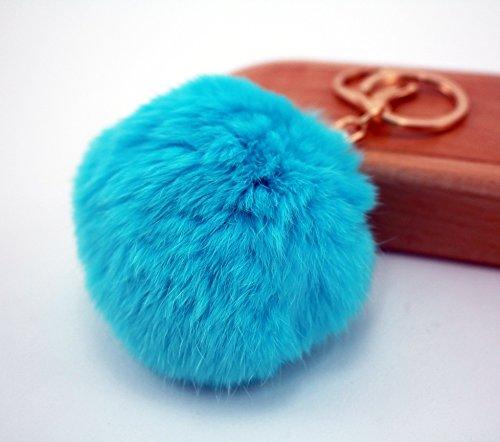 Pom Pom Keychain – Baby Blue Faux Fur Charm - Keychain Sunglasses