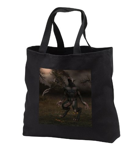 Renderly Yours Autumn And Halloween - Werewolf Howling At The Moon - Tote Bags - Black Tote Bag 14w x 14h x 3d (tb_28912_1)