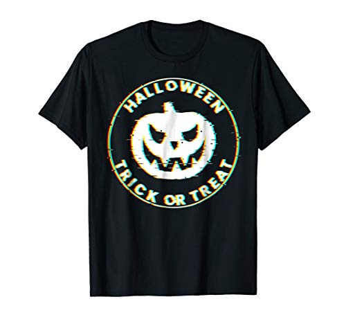 Glitch Effect Shirt Halloween Scary Pumpkin Face T