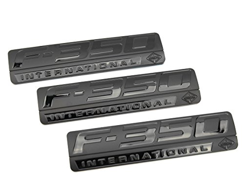 3 NEW CUSTOM MATTE BLACK F350 POWERSTROKE FORD INTERNATIONAL FENDER BADGES EMBLEMS