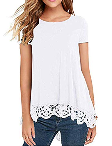 Women's Tops Short Sleeve Lace Trim O-Neck A-Line Casual Tunic Blouses for Leggings White M (Lacy Leggings For Women)