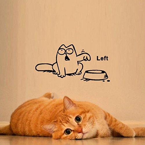 Wall Sticker,Ikevan Newest DIY Funny Cat Need Food Home Decoration Wall Sticker (Left)