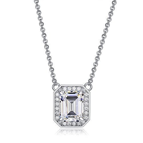 UMODE Emerald Cut Cubic Zirconia Halo CZ Solitaire Pendant Necklace 15.3+2 in