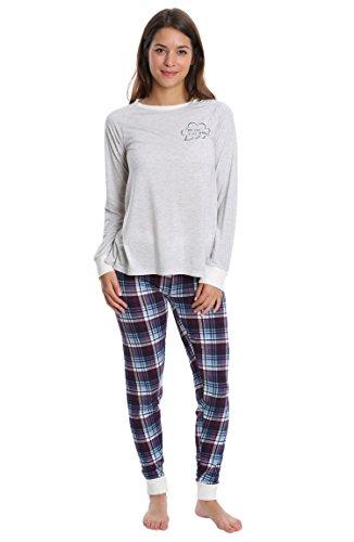 Ivory Lounge Set - Wallflower Women's Pajamas Super Suede Jogger Lounge Pant Sleep Set - Ivory & Moonlight Blue Plaid, 3X