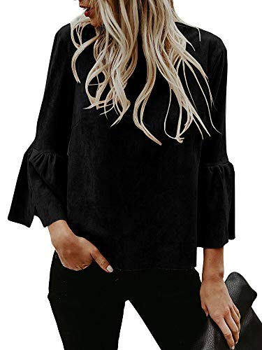 cd1ddcfa40 Kathemoi Womens Bell Sleeve Tops Suede Crew Neck Casual T Shirt Blouse  Pullovers