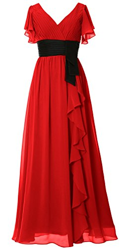 MACloth Women V Neck Short Sleeve Long Bridesmaid Dress Mother Formal Party Gown Rojo