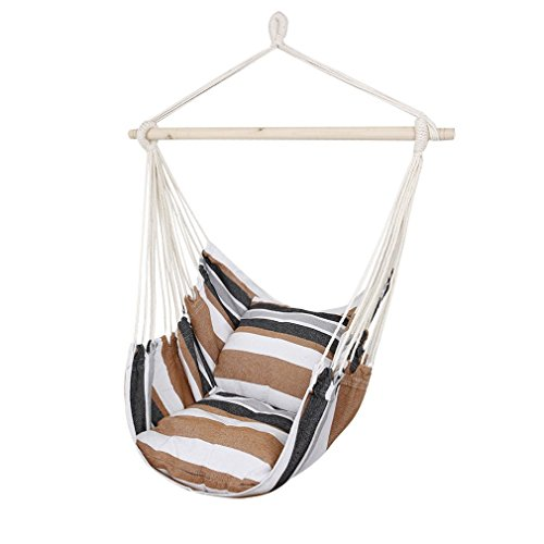 CCTRO Hanging Rope Hammock Chair Swing Seat, Large Brazilian Hammock Net Chair Porch Chair for Yard, Bedroom, Patio, Porch, Indoor, Outdoor - 2 Seat Cushions Included]()