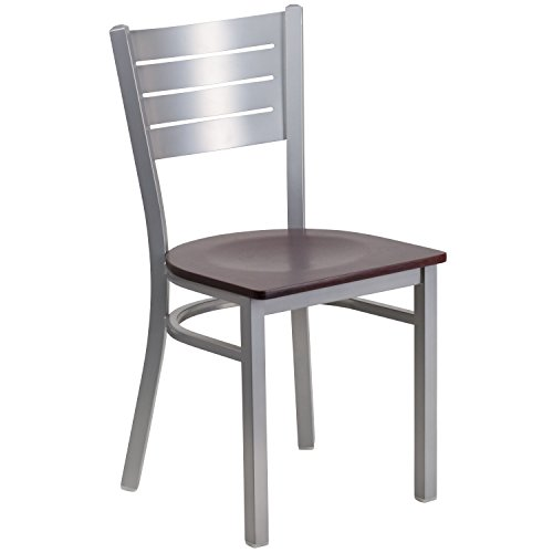 Flash Furniture HERCULES Series Silver Slat Back Metal Restaurant Chair - Mahogany Wood Seat