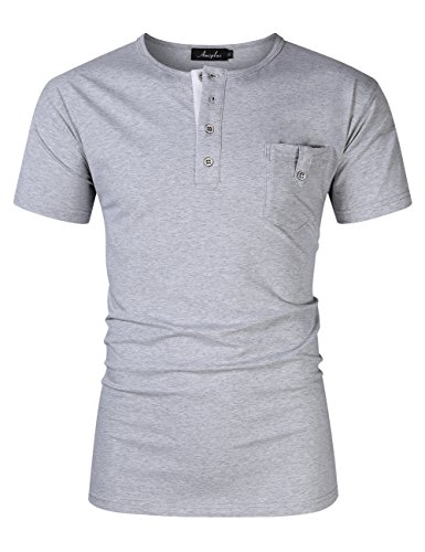 nd Tall Stylish Short Sleeve Casual T-Shirt Plus Size Button Pocket Round Neck T-Shirt Gray 4XL (Big And Tall Henley Shirts)