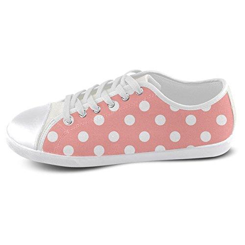 Artsadd Custom Coral Pink Lunares Zapatos De Lona Para Hombres (model016)