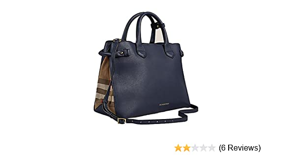 85e32a9daae0 Amazon.com  Tote Bag Handbag Authentic Burberry Medium Banner in Leather and  House Check INK BLUE Item 39830391  Shoes