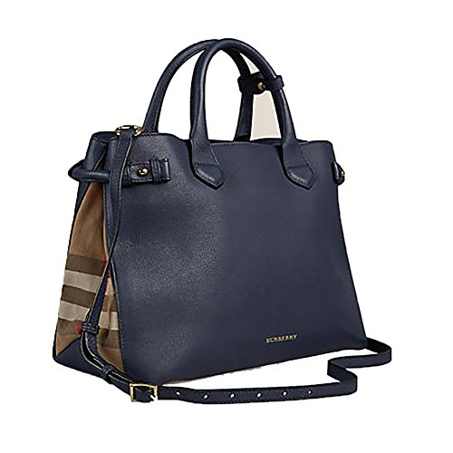 Tote Bag Handbag Authentic Burberry Medium Banner in Leather and House Check INK BLUE Item 39830391 Burberry Purse