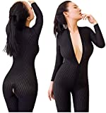 Amuhou Womens Open Crotch Jumpsuits Perspective Sexy Zipper Long Sleeves Corset Catsuit Teddy Cosplay (Black)