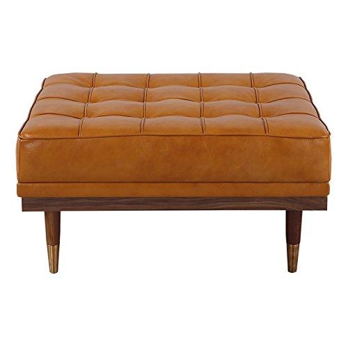 Kardiel Woodrow Mid-century Modern Box Ottoman, Tan Aniline Leather/Walnut