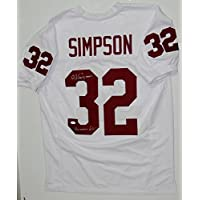 O.J. Simpson Autographed White College Style Jersey- JSA Witnessed Auth photo
