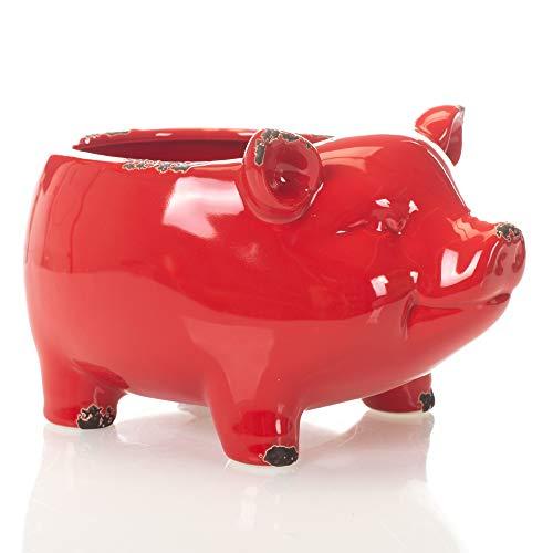 (Glossy Red Farmyard Animal Porky Pig 8 x 8 Ceramic Serving Bowl)