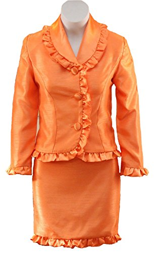 [SISTARS Two Pieces Interview Suits for Girls Pageant Dresses Kids Custom Made 16 Orange] (Pageant Suits)
