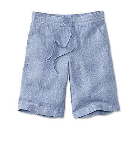 (Orvis Women's Shoreline Linen Shorts, Blue/White, Medium)