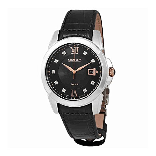 Seiko Men's Quartz Stainless Steel and Leather Casual Watch, Color:Black (Model: (Mens Seiko Le Grand Sport Watch)