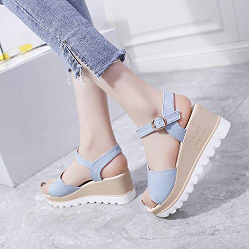 Summer Womens Casual Mid Heel Sandals Wedge Ankle Strap Shoes Buckle Strap Student Beach Shoes (Blue, Size:40=US:7.5) by Tanlo (Image #5)