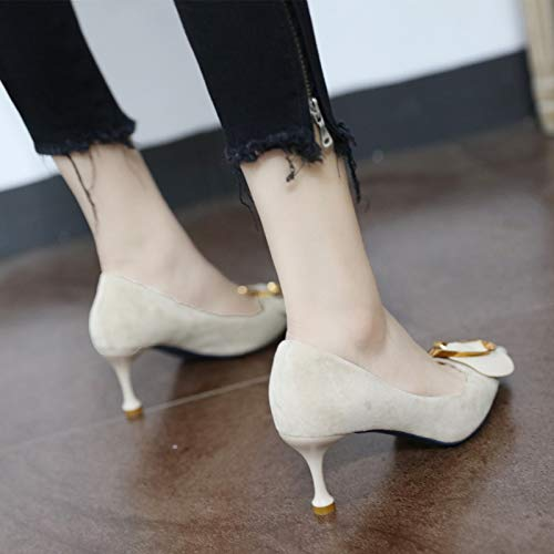 stiletto buckle YMFIE pointed 37 shallow heels fashion EU style shoes with European metal shoes Suede mouth single OOFqUr7