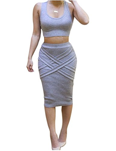 Bess Bridal Womens Crop Top Midi Sexy Outfit Two Pieces Bodycon Bandage Dresses,Grey,Medium]()