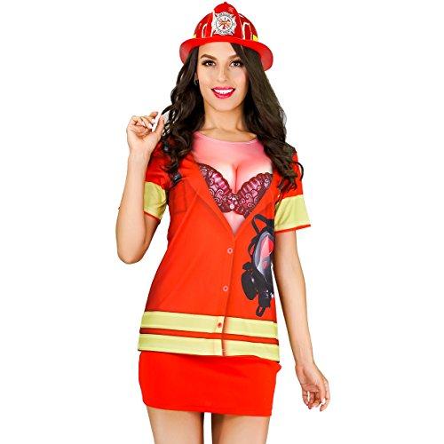 Women's Sexy Fireman Costume Adult Youth T Shirt (Large) - Sexy Firegirl Costumes