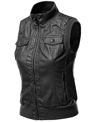 Women's Zip-up Biker Bomber Vest Faux Leather Jackets BLACK Size L