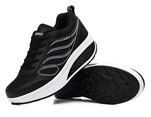N.66 Scarpe Da Donna Waiking Da Corsa Scarpe Da Jogging Con Piattaforma Comoda Us5.5-8.5 Nere