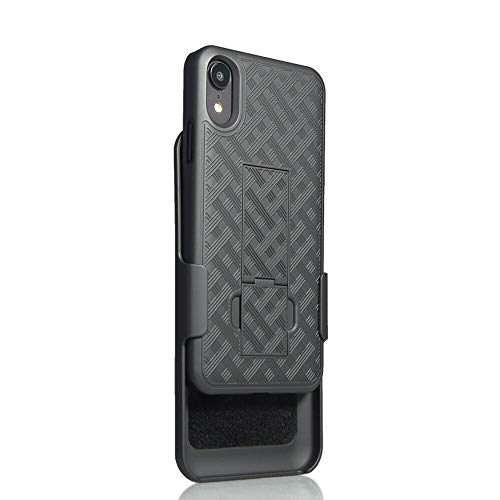 iPhone XR 6.1 Inch Case, Belt Clip Holster Cover Shell Kickstand Criss Cross Black New Plaid Design for iPhone XR 6.1 Inch