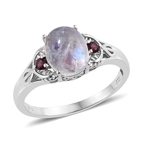 (925 Sterling Silver Platinum Plated Rainbow Moonstone Rhodolite Garnet Statement Ring for Women Size 7)