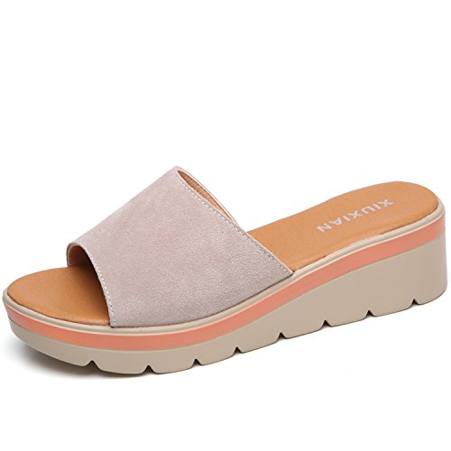Kingwhisht Leather Open Toe T-Strap Thick Soled Outside flip Flops Shoes Wedges Flat Slides Sandals,Beige L.806,7 (Seven Pounds Poster)