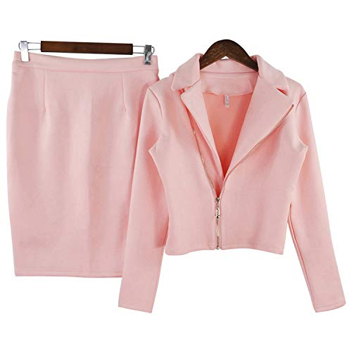 Jacket Scamosciata Fork Pacchetto Giacche Donna Zipper 2 Hip Open Due Pezzi Skirt E Cappotti Primavera Di Pink Gonna Tuta Set Autunno Pelle wpYxq7RYA