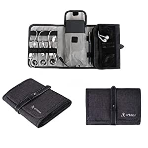 Artman Travel Gadgets Electronics Organizer Bag, Universal Electronic Accessories Cable Roll-Up Pouch Portable Gear Storage Carrying Case for Charger Cords SD Memory Cards Earphone Hard Drive –Grey