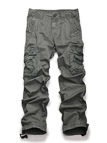 Men's Casual Active Military Cargo Camouflage Combat Pants Trousers Grey 32