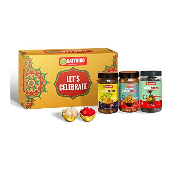 Sattviko Elite Bhai Dooj Gift Box | Celebration Pack | Bhai Duj | Gur Chana, Dry Mango jar, paan Raisin