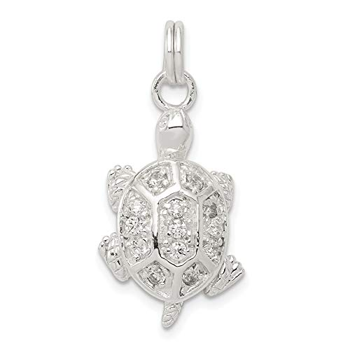 CZ Turtle Charm In Polished 925 Sterling Silver 23x14mm