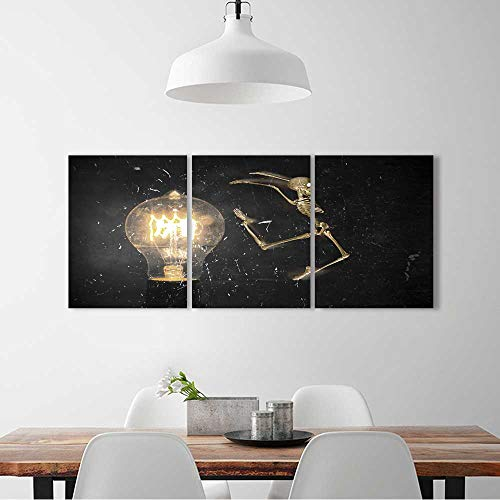 (3 Pieces Triptych Painting Living Room Decoration Frameless Horrifying vintage Halloween themed skeleton jumping past lightbulb for Living Room Office Decor Gift W16