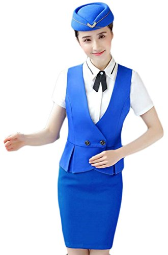 WSPLYSPJY Women Sexy Summer V-Neck Plus Size Stewardess Costumes Vest + High Waist Skirt 2 Piece Set 5 (Stewardess Costume Plus Size)