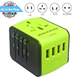SONGDAY Adapter International Travel 3.4A 1500W 4 USB Ports All in One Worldwide AC Wall Outlet Plugs Universal Power