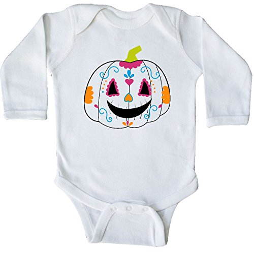 inktastic - Day of The Dead Pumpkin Long Sleeve Creeper Newborn White -